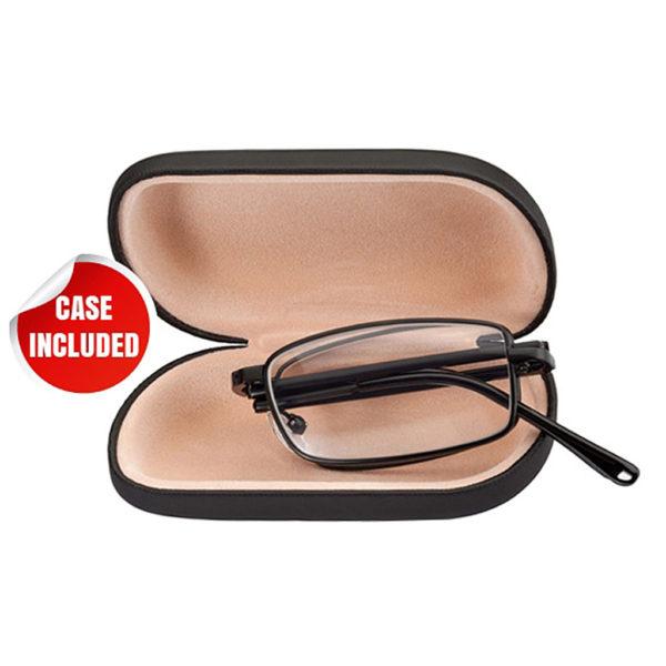 folding reading eyeglasses with hard case